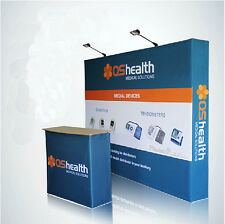 10ft Portable POP UP Trade Show DISPLAY Backdrop Wall Custom graphic printing