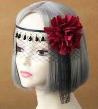 Red Flower Lace Masquerade Face Eye Mask Hair Headband Party Gothic Cosplay Lady