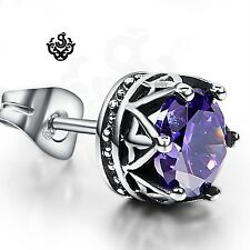 Silver earring purple swarovski crystal stainless steel crown single stud 1.25ct