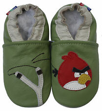 carozoo bird slingshot green 4-5y new soft sole leather kids shoes