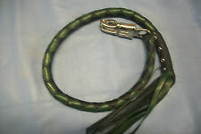 biker getback whip motorcycle leather BLACK & GREEN THE DRAGON'S TAIL! By Stitch