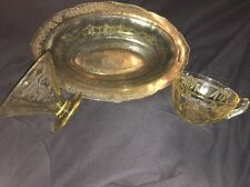 3 Pcs Yellow Depression Glass Ballerina Roxana berry Bowl Cup & Serving Bowl