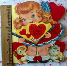 Vintage 1950's Die-Cut, Red Flocked Valentine w/ Cute Little Girl, Dog, and Cat