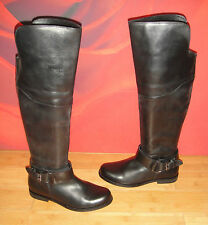 SUPERB  BLACK LEATHER  RIDING STYLE OVERKNEE BOOTS  UK 4 EU 37 *11*