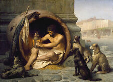 Huge art Oil painting male portrait Diogenes Greek philosopher with dogs canvas