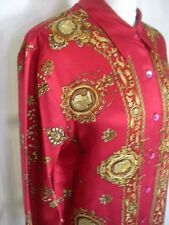 RENATO NUCCI HISTORIC PORTRAITS PROFILES  SILK BLOUSE SZ. 42 UK 16 US 12