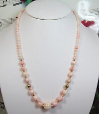 Genuine Natural Light Pink Coral Necklace With 14K GF Clasp. Graduated. LCR003