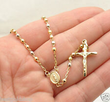 "18"" 3mm"" Rosary Chain Medallion Cross Crucifix Necklace Real 14K Tri-Color Gold"