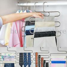 S Type Clothes Pants Trouser Hanger Multi Layers Storage Rack Closet Space Saver