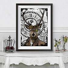 DEER poster stampa hipster Animale Steampunk Funky a3 POSTER DIZIONARIO