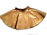 Brown Bronze PVC full flippy flared circle twirl skater mini Skirt Fetish BNWT