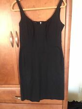 NARCISO RODRIGUEZ SIZE 6. BLACK SCOOP NECK DRESS