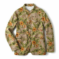 BNWT Engineered Garments Khaki Cotton/Linen Floral Nehru Jacket Medium Nepenthes