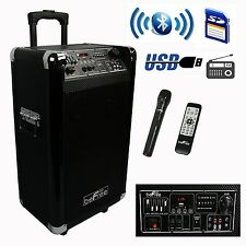 "NEW PORTABLE 600W WATT 10"" BLUETOOTH DJ PARTY EVENT SPEAKER WIRELESS MIC FM USB"