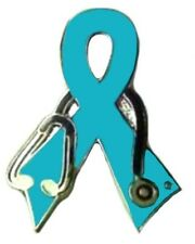 Teal Ribbon Nurse Stethoscope Pin Ovarian Cancer Awareness Support Silver Plate