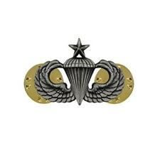 USA  Army Badge  Mini Silver Oxidized  Senior Parachute   NEW (USA Issue)