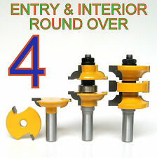 "4 pc 1/2"" SH Round Over Entry & Interior Door Matched R&S Router Bit Set sct-888"