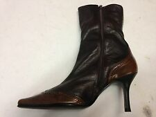 RIVER ISLAND Brown Leather Zip Stiletto Womens Winter Ankle Boots SIz 5 UK 5 38