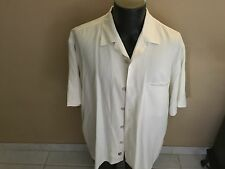 NWOT NAT NAST SOLID WHITE SILK BLEND S/S BOWLING STYLE SHIRT L
