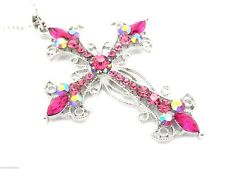 New Pink Crystal Cross Women 2.25 Pendant & Necklace