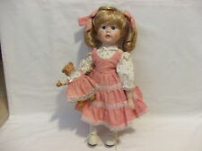Dynasty Doll Collection, Gerri 14in Porcelain Doll w/porcelain bear, USED