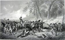 French & Indian Wars, DEATH of GENERAL BRADDOCK ~ Old 1859 Art Print Engraving