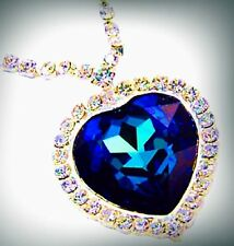 New Sapphire Blue Heart & Crystal Necklace Large Pendant Ocean Pendant Jewelry