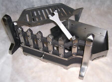 "BEACON 16"" inch PEWTER SILVER SOLID FUEL COAL FIRE KIT SET GRATE ASHPAN FRET"