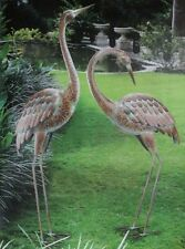 Garden Crane Pair Statues Heron Bird Sculpture Metal Outdoor Patio Pond Yard Art