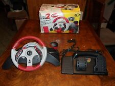 Mad Catz MC2 Universal Steering Wheel Xbox Ps1 Ps2 GameCube PC Carbon Fiber red