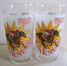 May 21, 1994 Pimlico Baltimore MD Preakness Horse Racing Glasses Set of 2