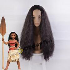 2017 New Movie Moana Wig synthetic long curly dark brown cosplay wig +a wig cap