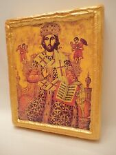 Jesus Christ Rare Russian Eastern Orthodox Icon Gold Art on Pine Wood Plaque