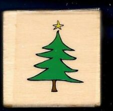 PINE TREE Fir Holiday Christmas Star small Gift Tag Card NEW Wood RUBBER STAMP