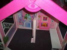 Barbie fold up suitcase house clear roof accessories Matell great condition