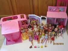 Lot of 24 Barbie dolls Glamour Camper RV 2008 Pop Out Tent clothed set NICE