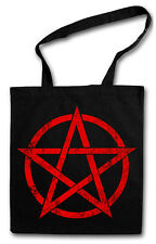 RED Pentagram COTTON BAG - Jute bag Cloth bag - PENTAGRAM Pentacle Satan
