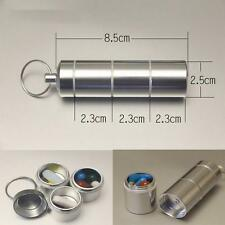 EDC Aluminum Multilayer Waterproof Storage Capsule Pill Case Container key ring