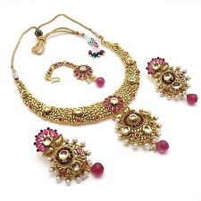 Indian Polki Necklace Set Party Ethnic Wear Asian Bollywood Bridal Jewellery