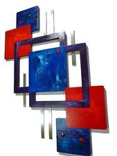 New Bold Red Blue Purple fancy Swirl Unique Abstract Wall decor -Wood with Metal
