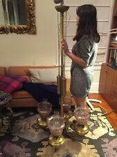HUGE Period Gas Gasolier Chandelier Brass Victorian Antique ENGLAND c1870 ETCHED