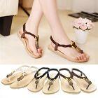 Damenschuhe Sandalen Zehentrenner Sandaletten Flach Sommer Schuhe T-Riemen 36-40