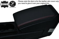 RED STITCH ARMREST LID LEATHER SKIN COVER FITS VW PASSAT B7 2011-2014