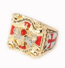 Knights Templar Masonic Mason Ring 18K Gold Plated Sizes 9-12