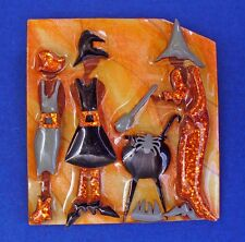Buy3/Get1FREE~LUCINDA Halloween Pin WITCHES Cauldron BREW Vtg 3D Holiday BROOCH