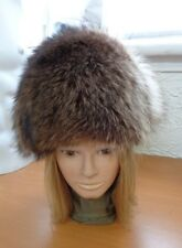 EXCELLENT CANADIAN NATURAL RACCOON RACOON FUR HAT CAP WOMEN WOMAN SIZE ALL