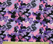 SNUGGLE FLANNEL*PINK & PURPLE BUTTERFLIES on LAVENDER Cotton * NEW * 1 Yd 22""