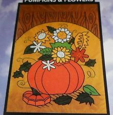"""Betsy Decorative Flags - #62124 Pumpkins & Flowers  28"""" x 40"""" - NEW, Sealed"""