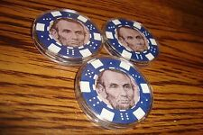 #3 Three Lincoln $5 Poker Chip Golf Ball Marker Card Guard in Protective Case