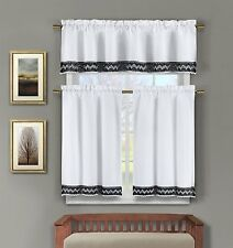 3 Pc White Linen Kitchen Window Curtain Set with Black Crochet Accent
